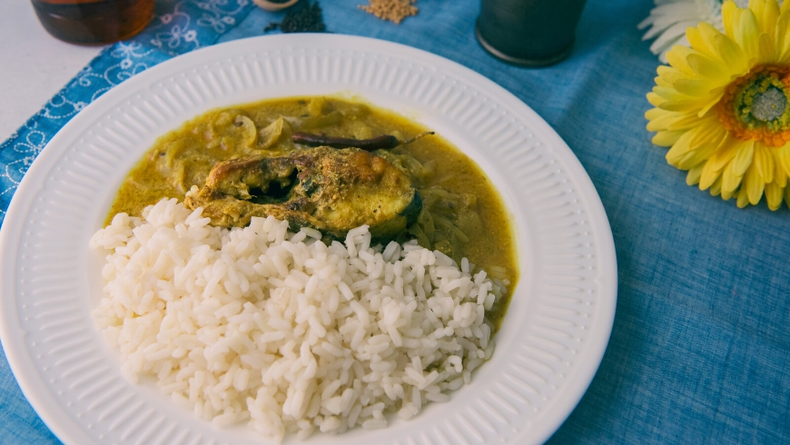 Fish Curry and Mixed Rice